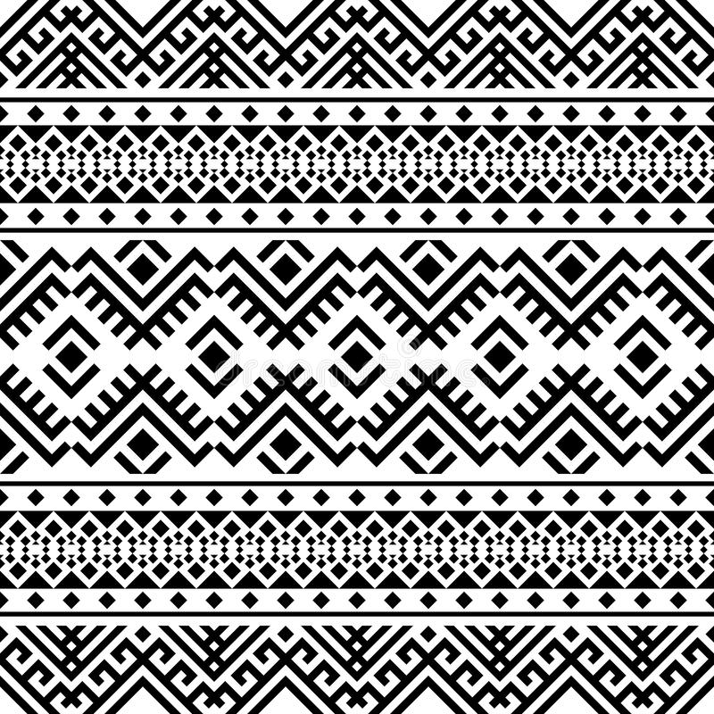 Etniskt mönster i geometriska stammen Illustration av Seamless Ethnic Pattern Vector royaltyfri illustrationer