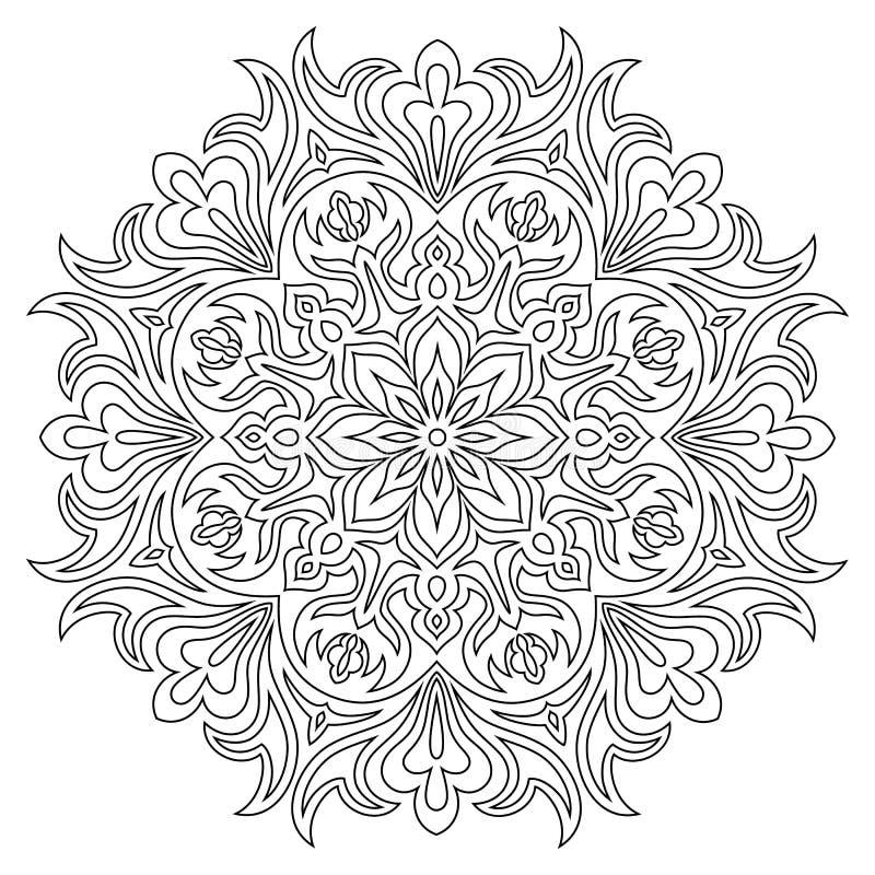 Etniskt mandalasymbol för färgläggningbok Anti--spänning terapimodell stock illustrationer