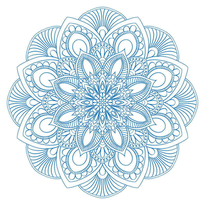 Etniskt mandalasymbol för färgläggningbok Anti--spänning terapimodell Vektorabs stock illustrationer