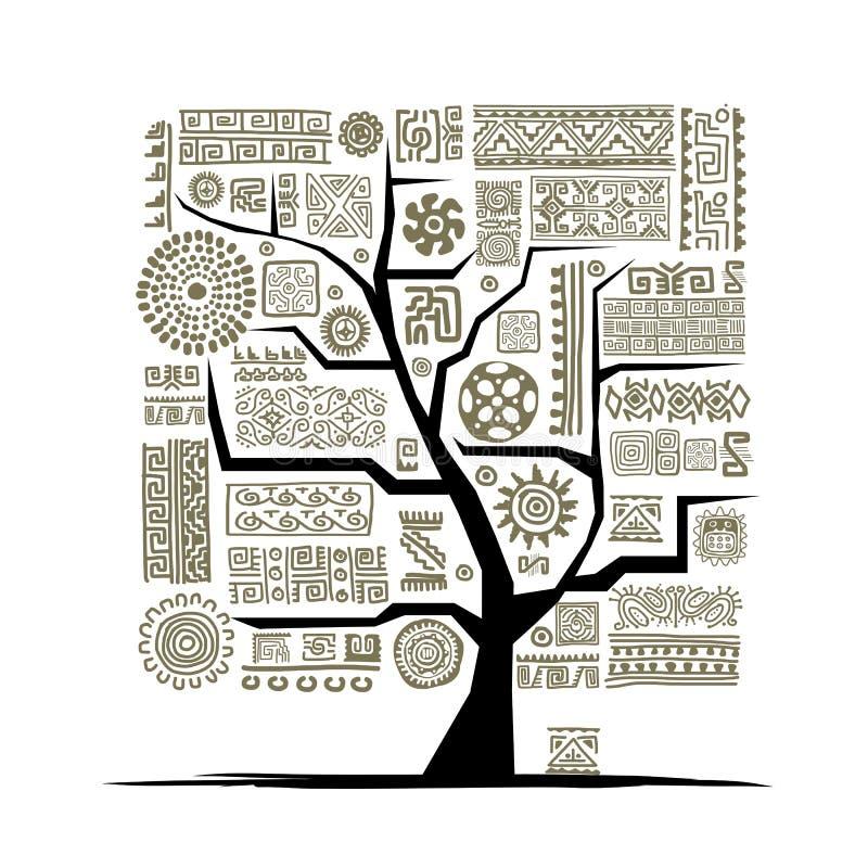 Etniskt träd med den handgjorda prydnaden för din design stock illustrationer