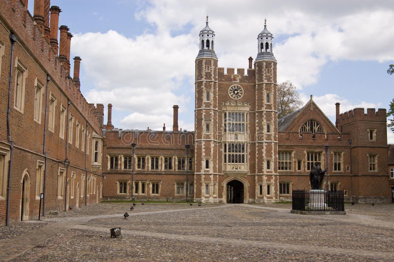 Eton College Quadrangle. The imposing quadrangle at the historic Eton College, Windsor, Berkshire. Lupton's Tower in the centre dates from Tudor times royalty free stock photo