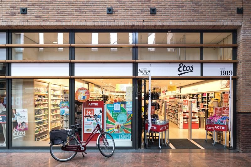 Etos branch in Oegstgeest, Netherlands. Etos operates more than 550 drugstores in the Netherlands and is owned by Ahold Delhaize royalty free stock images