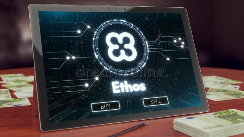 Etosu cryptocurrency logo na komputer osobisty pastylce, 3D ilustracja ilustracji