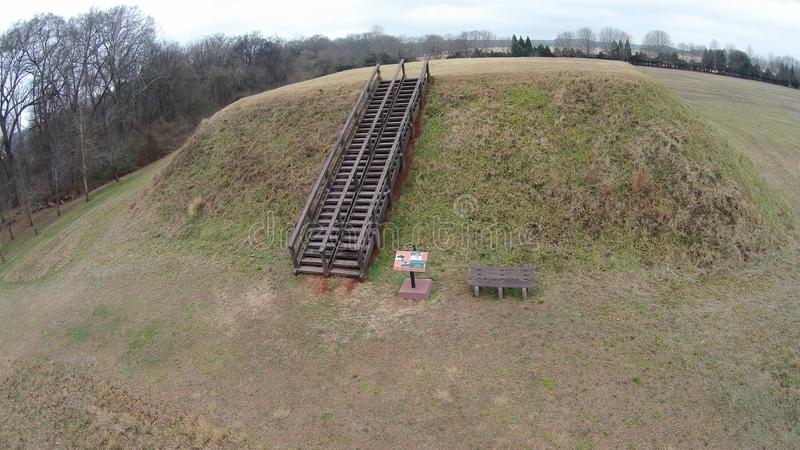Etowah Indian Mounds - Cartersville, GA, United States. Etowah Indian Mounds are prehistoric archaeological site located on the bank of Etowah river in the stock photo
