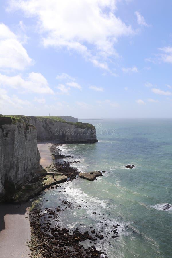 Etretat峭壁在法国 免版税库存照片