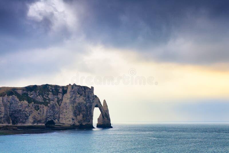 Etretat峭壁在诺曼底,法国 库存图片