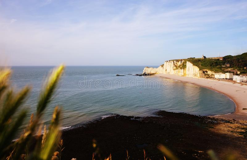 Panoramic view of Etretat cliffs at sunset, France royalty free stock photos