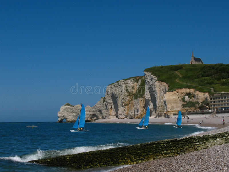 Download Etretat church stock photo. Image of travel, seagulls - 11956456