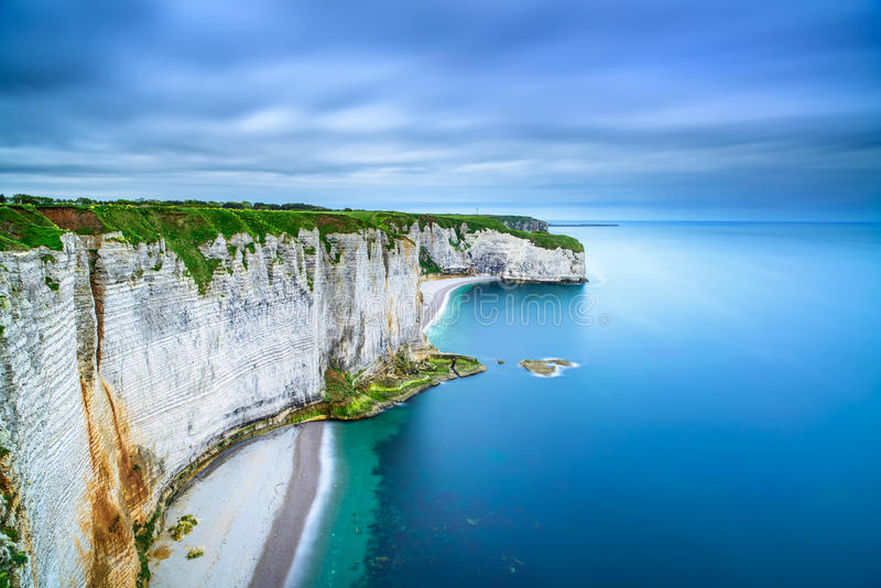 Download Etretat, Rock Cliff And Beach. Aerial View. Normandy, France Royalty Free Stock Images - Image: 32297509
