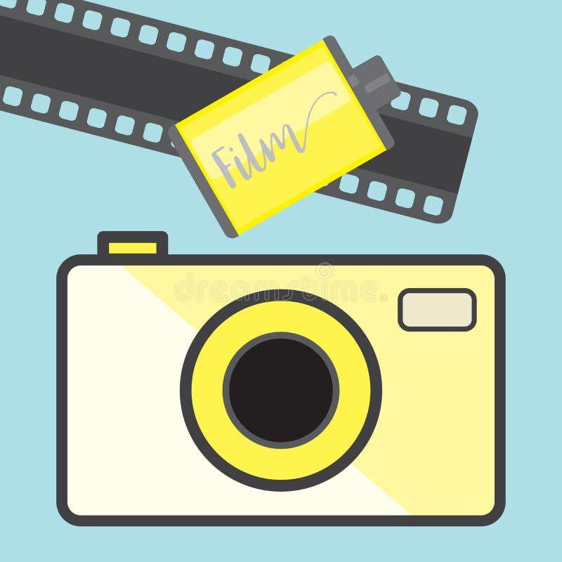 Etrocamera en film op een blauwe achtergrond, vlakke stijl royalty-vrije illustratie