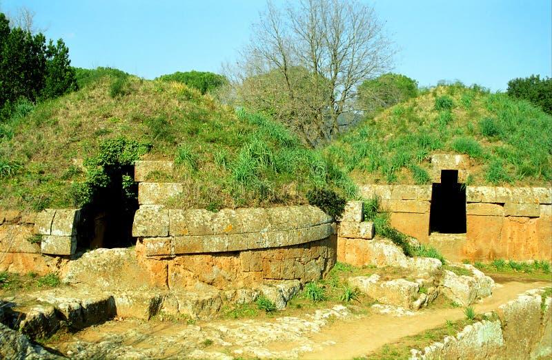 Etruscan gravvalv, Cerveteri, Italien royaltyfria foton