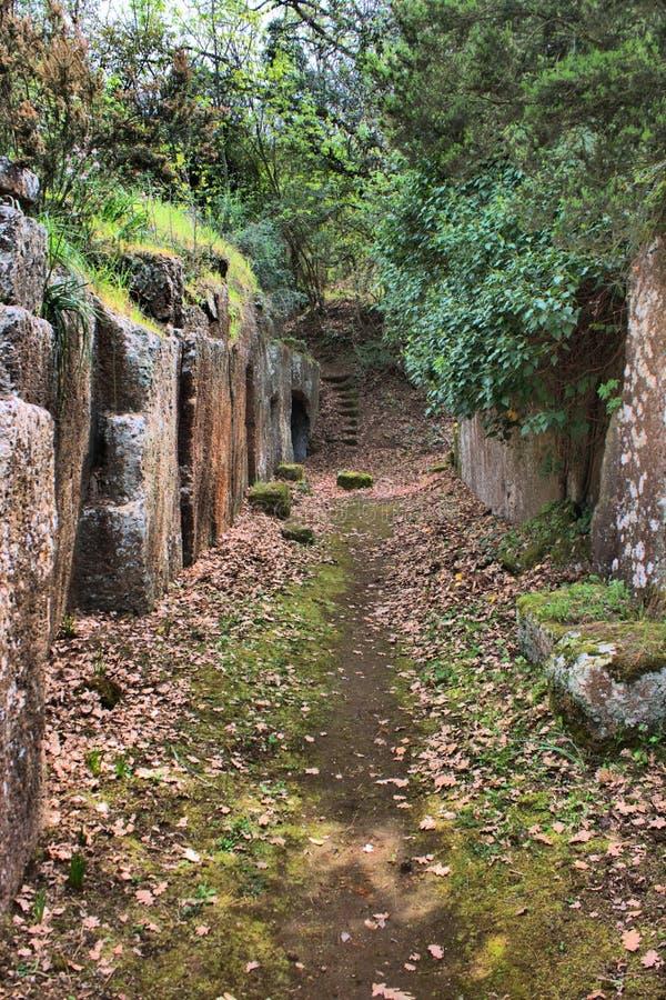 etruscan necropolis för cerveteri arkivbild