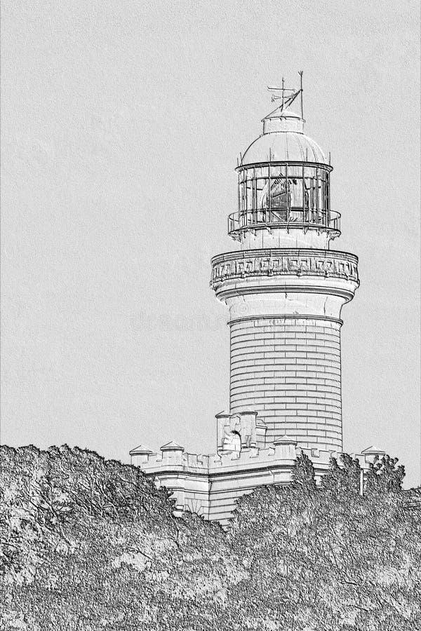 Etsning av Byron Bay Lighthouse arkivbild
