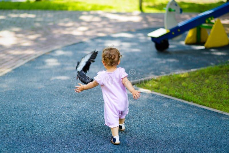 Ettårigt barn som jagar en duva på lekplats royaltyfria foton