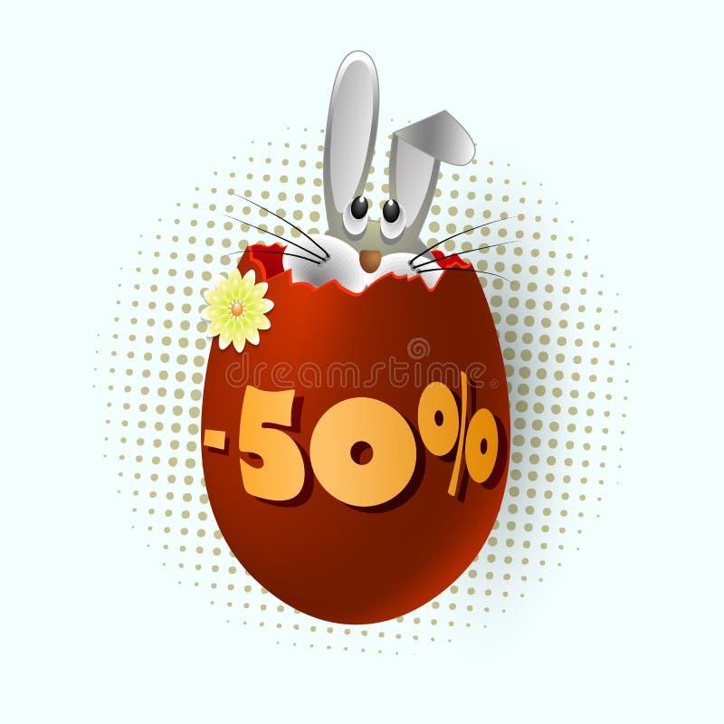 Ett ägg med en kanin och ett diagram av minusen femtio procent royaltyfri illustrationer