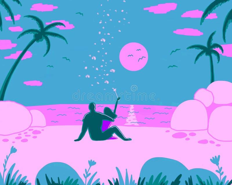Ett älska par sitter på stranden royaltyfri illustrationer