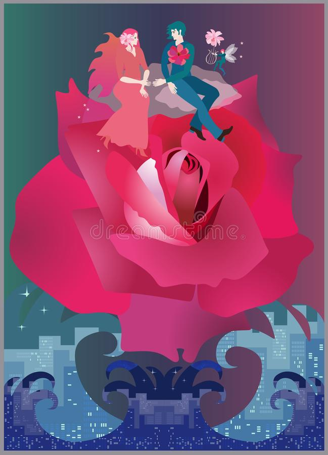 Ett älskvärt ungt par är flyget på en enorm ros över ett rasa hav Inbjudan till att gifta sig i vektor stock illustrationer