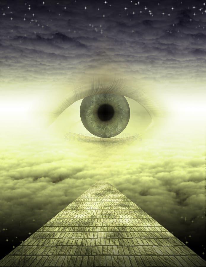 Ett öga på den gula tegelstenvägen vektor illustrationer