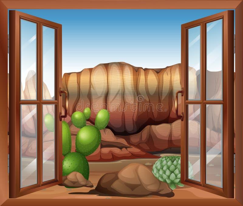 Ett öppet fönster med en sikt av öknen och kaktusväxterna stock illustrationer