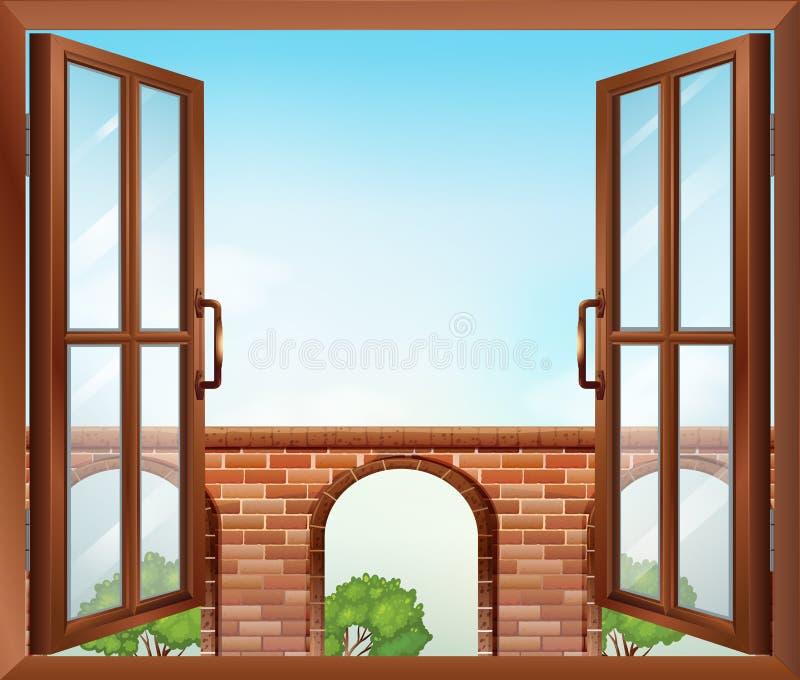 Ett öppet fönster med en sikt av porten stock illustrationer