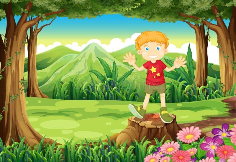 Ett anseende för ung man ovanför stubben på skogen royaltyfri illustrationer