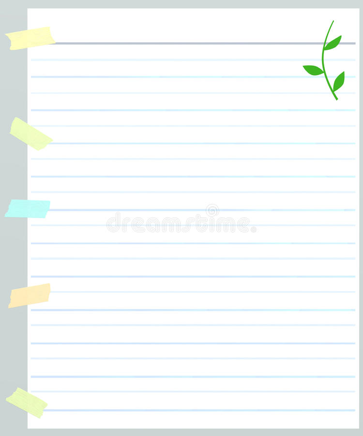 Ett ark av fodrat papper med maskeringstejpen stock illustrationer
