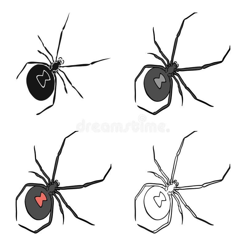 Ett arthropodfel är ett kryp En spindel, en enkel symbol för rov- kryp i det isometriska materielet för symbol för tecknad filmst royaltyfri illustrationer