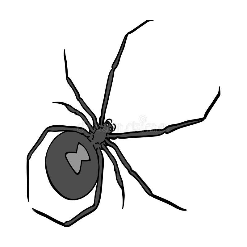 Ett arthropodfel är ett kryp En spindel, en enkel symbol för rov- kryp i det isometriska monokromma materielet för stilvektorsymb royaltyfri illustrationer