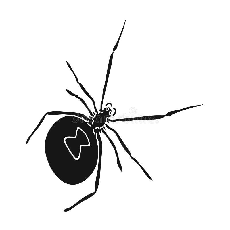 Ett arthropodfel är ett kryp En spindel, en enkel symbol för rov- kryp i det isometriska svarta materielet för stilvektorsymbol stock illustrationer