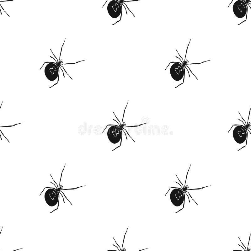Ett arthropodfel är ett kryp En spindel, en enkel symbol för rov- kryp i det isometriska svarta materielet för stilvektorsymbol vektor illustrationer