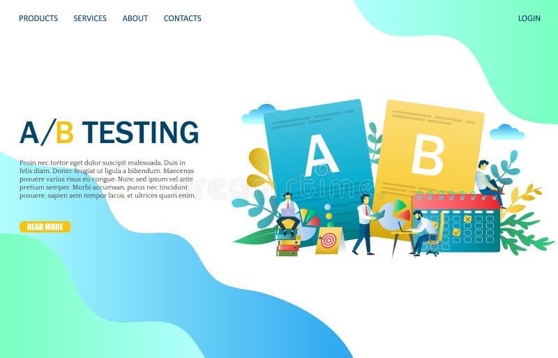 Ett B som testar mallen för design för sida för vektorwebsitelandning royaltyfri illustrationer