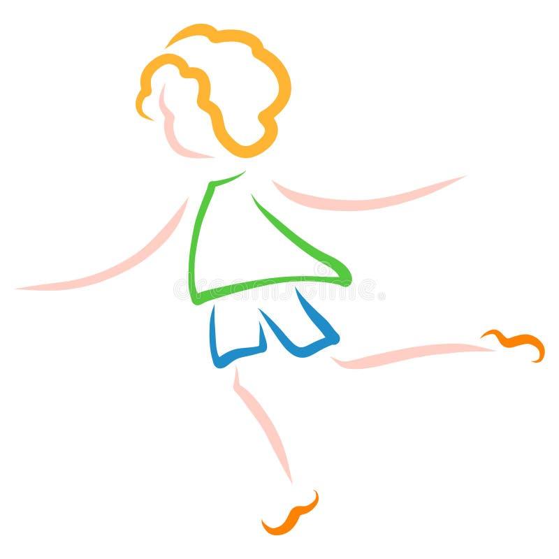 Ett barn i shorts och en tröja med blont hår stock illustrationer