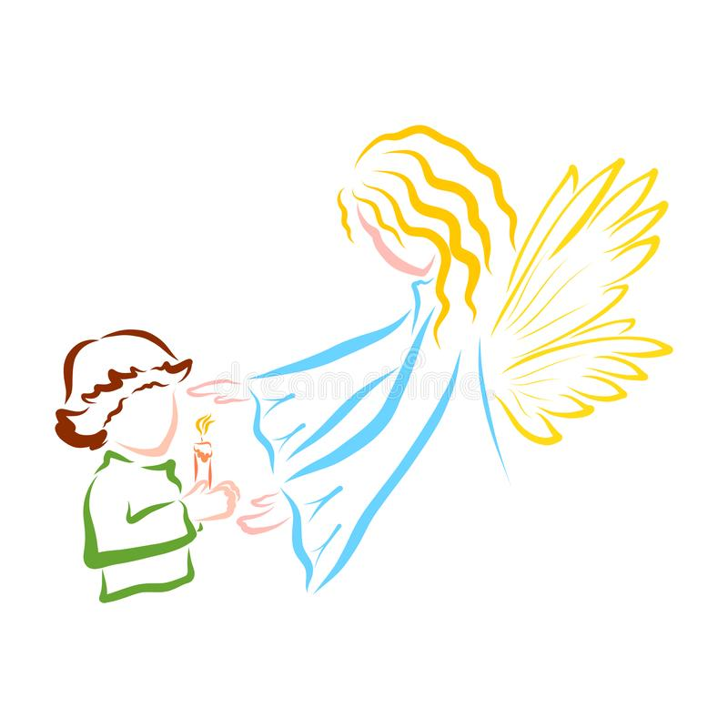 Ett barn med bränningstearinljuset i deras händer och en bevaka ängel stock illustrationer