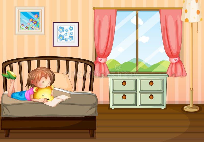 Ett barn som studerar inom hennes rum royaltyfri illustrationer