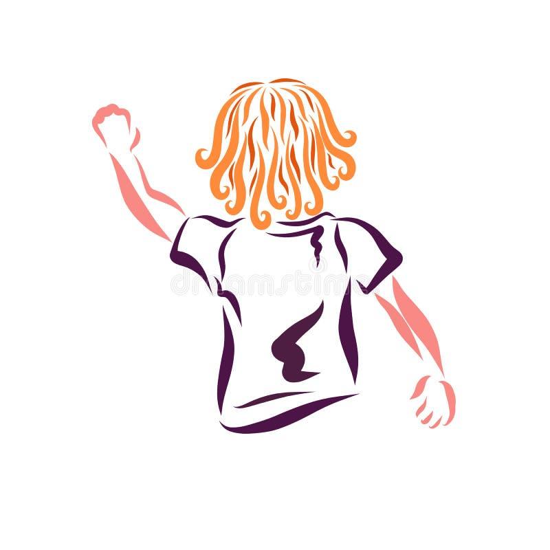 Ett barn som vinkar hans hand, hälsning eller säger farväl vektor illustrationer