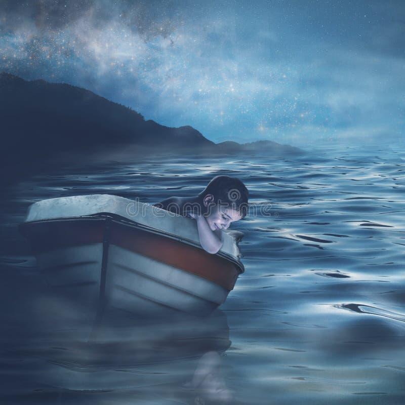 Ett barns porträtt i en båt royaltyfri foto