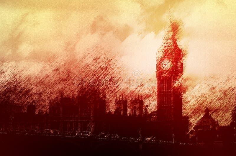 Ett begrepp av krisen av den brittiska regeringen med konturn av husen av parlamentet Redigerade Artistically för att se fördämni arkivfoton