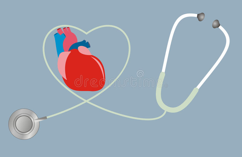 Ett begrepp för hälsa av hjärta Stetoskop i form av hjärta vektor illustrationer