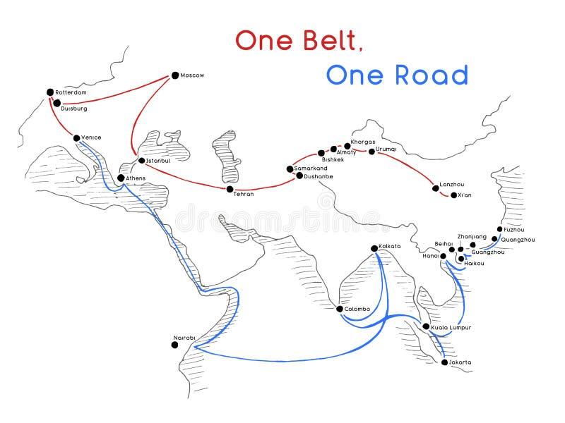 Ett begrepp för siden- väg för väg för bälte ett nytt uppkopplingsmöjlighet och samarbete för 21st-århundrade mellan Eurasianländ stock illustrationer
