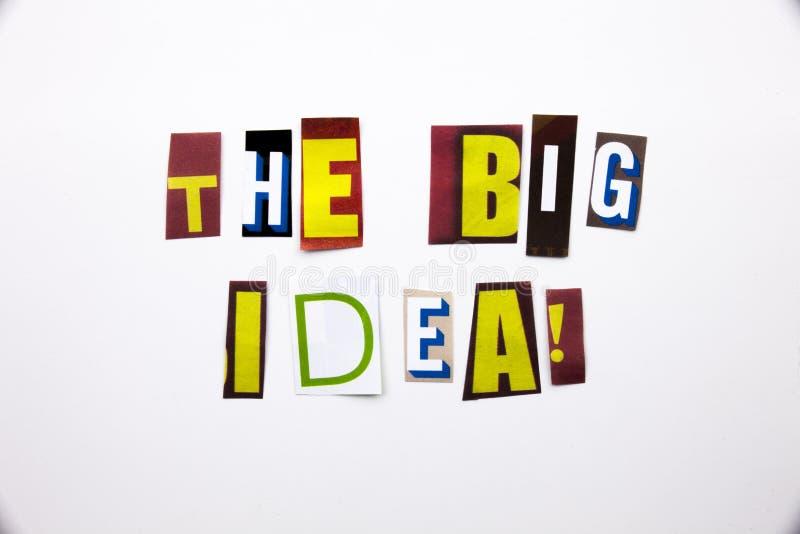 Ett begrepp för visning för ordhandstiltext av den stora idéfrågan som göras av den olika tidskrifttidningsbokstaven för affärsfa arkivfoto