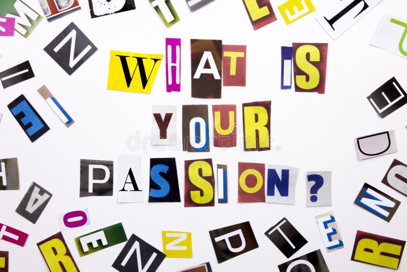 Ett begrepp för visning för ordhandstiltext av vad är din passion som göras av den olika tidskrifttidningsbokstaven för affärsfal royaltyfri fotografi