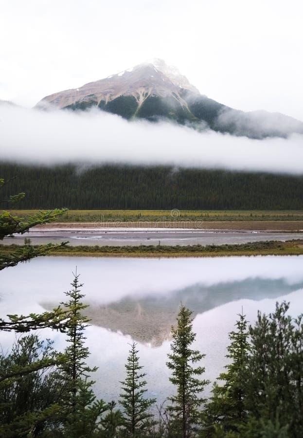 Ett berg som är borttappat i den dimmiga aftonen av Jasper National Park fotografering för bildbyråer