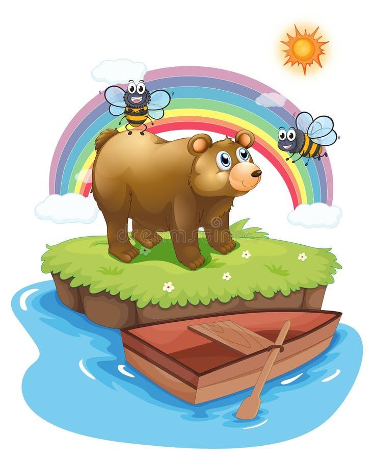 Ett Big Bear och två bin vektor illustrationer