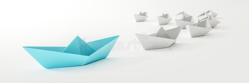Ett blått fartyg och någon vit vektor illustrationer