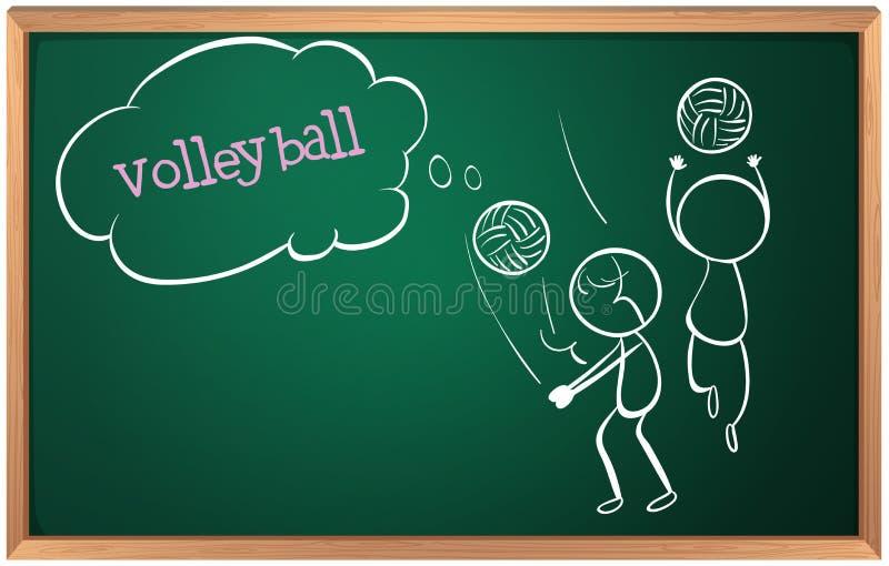 Ett bräde med en skissa av två volleybollspelare stock illustrationer