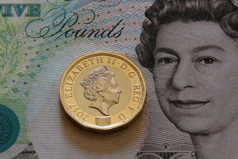 Ett brittiskt pund, ny typ 2017 arkivfoto