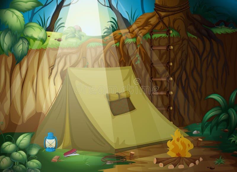 Ett campa tält royaltyfri illustrationer