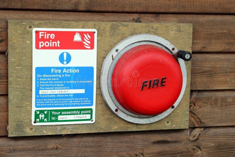 Ett campingplatsbrandlarm och evakueringsanvisningar arkivfoto