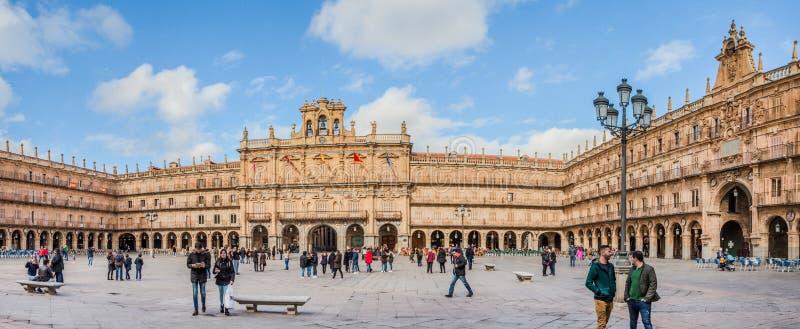 Ett centralt ställe i staden, Plazaborgmästaren, Salamanca royaltyfria foton