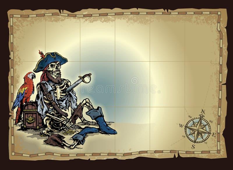 Öde piratkopiera skelett kartlägger royaltyfri illustrationer